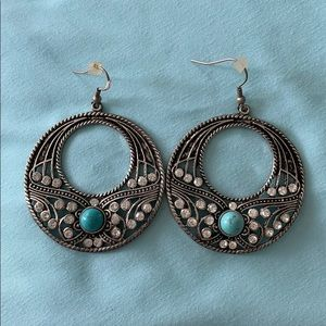Jewelry - Never worn silver and turquoise statement earrings